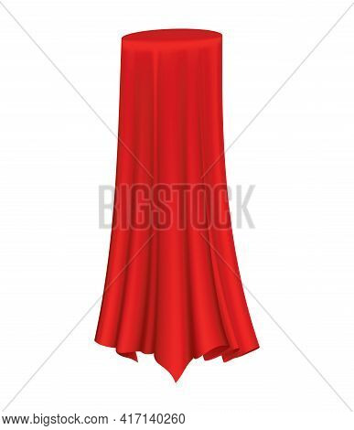 Covered Object. Red Silk Fabric Curtain Cover. Revealer Cloth Realistic Curtain For Exhibition With