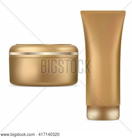 Cosmetic Jar Cream Tube Gold Package Mockup Design. Luxury Plastic Container Blank, Flaxible Squeeze
