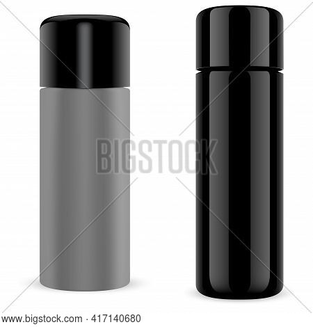 Spray Can. Hair Spray Bottle Mockup, Aerosol Cylinder Tube. Aluminum Metal Paint Container. Empty Sp