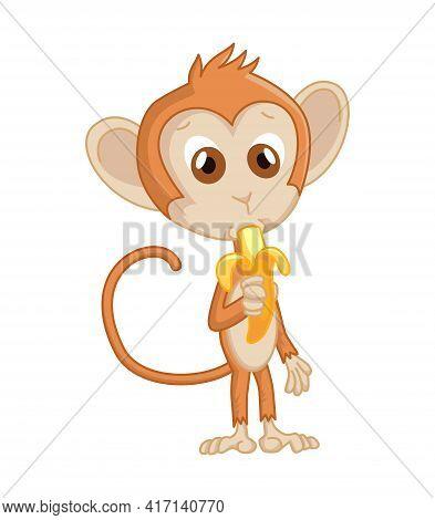 Cute Funny Monkey Colorful Cartoon Illustration. Vector Little Chimpanzee. Wildlife Character. Littl