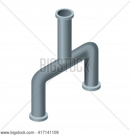 Isometric Pipe. Water Tube Or Pipeline For Oil Or Gas Industry Tube Construction. Plastic Plumbing S