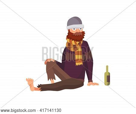 Homeless People. Sad Jobless People In Dirty Clothes Begging Money. Unemployment Men Needing Help. B