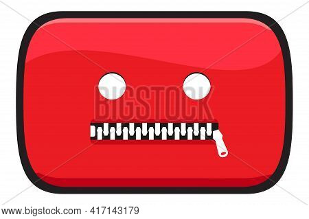 Video Social Media Icon With Zipper On Mouth . Censored Video Content. Vector Illustration