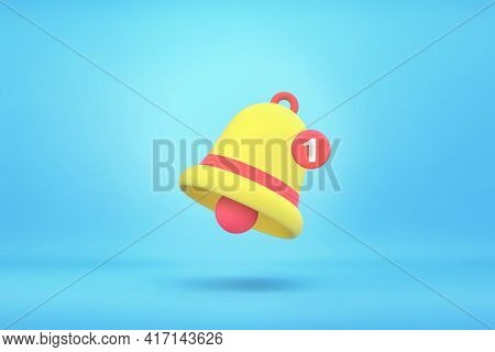 Yellow And Red Notification Bell With One New Notification On Blue Background. 3d Rendering