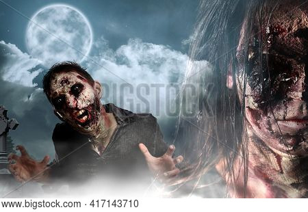 Scary Zombies At Misty Cemetery Under Full Moon. Halloween Design