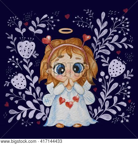 Cute Little Angel Girl With A Hairstyle, A Halo And Wings In White With Hearts On Blue Background Wi