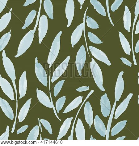 Watercolor Leaves Seamless Vector Pattern. Strands Of Leaves Painted In Watercolor In Sky Blue Color