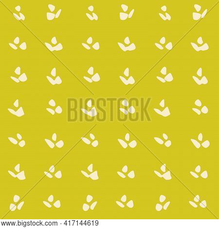 Simple Petals Motif Floral Seamless Vector Pattern. A Floral Motif With Three Petals Painted In Soli