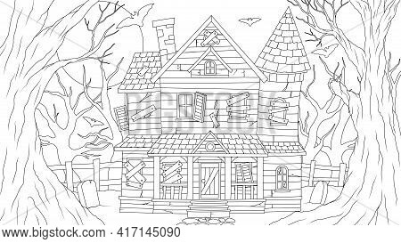 Vector Illustration, Old Haunted House At Full Moon Night, Coloring Book.