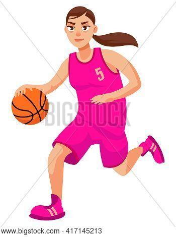 Running Female Basketball Player. Sportswoman In Cartoon Style.