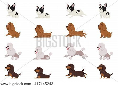 Set Of Dogs In Different Poses. French Bulldog, Cocker Spaniel, Poodle And Dachshund In Cartoon Styl