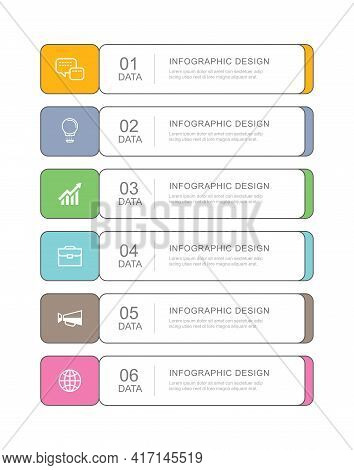 6 Data Infographics Tab Paper Thin Line Index Template. Vector Illustration Abstract Background. Can
