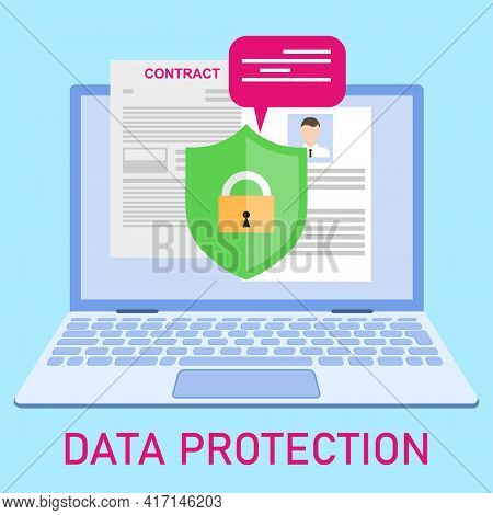 Protection Of Personal Data, Protection Of Information On The Computer. Vector, Cartoon Illustration