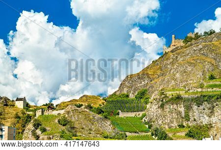 View Of Tourbillon Castle In Sion - The Canton Of Valais, Switzerland