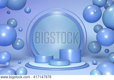3d Pastel Color Shapes, Minimal Scene With Geometrical Forms. Blue Cylinder Podiums On Background Wi