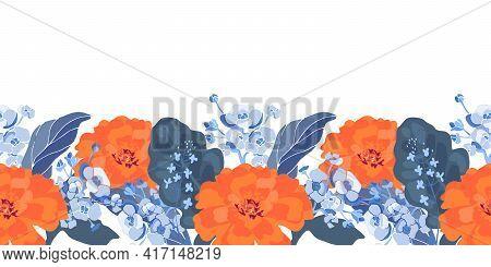 Vector Floral Seamless Border. Orange Color Tagetes, Marigold, Small Blue Flowers, Blue Leaves