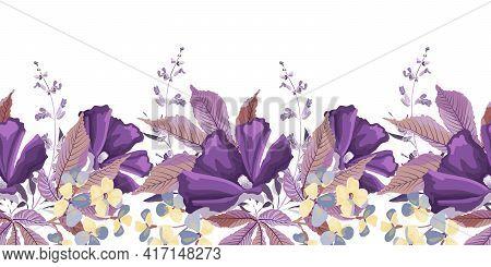 Vector Floral Seamless Pattern, Border. Purple, Yellow Flowers, Sage, Salvia