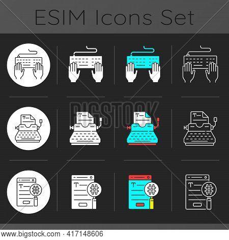 Writing Seo Text Icons Set Dark Theme Icons Set. Typewriter, Typing On Keypad. Search Engine Optimiz