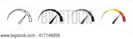 Gauge Icons. Speedometer Vector Isolated Signs. Customer Satisfaction Indicator Level. Risk Level Ga