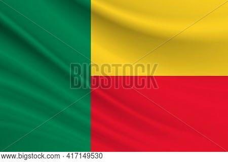 Flag Of Benin. Fabric Texture Of The Flag Of Benin.