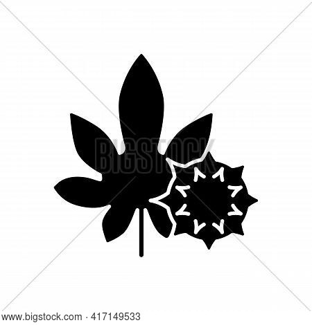 Castor Bean Black Glyph Icon. Exotic Flowering Plant. Ricinus Communis. Cause Of Allergic Reaction,