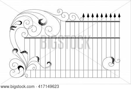 A Sketch Of A Wrought Iron Fence Or Fence. Hand-drawn Model Of A Forged Product. Artistic Forging. M