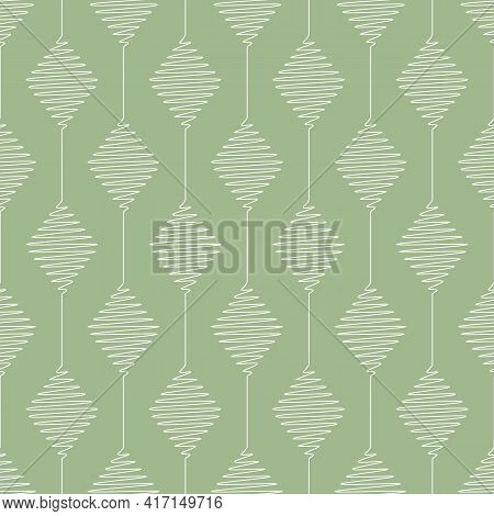Vector Geometric Pattern With Connected Scribbled Diamonds. Seamless Stripes Of White Diamonds On La