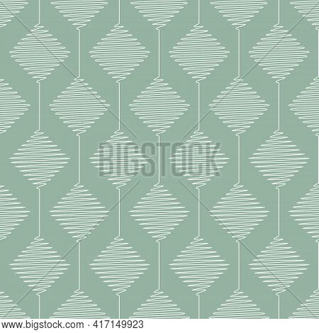 Vector Geometric Pattern With Connected Scribbled Rhombuses. Seamless Stripes Of White Rhombi On Gre