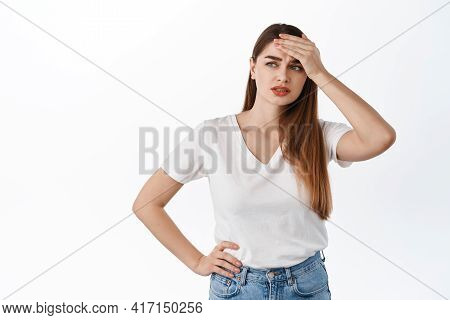 Troubled And Distressed Young Woman Touching Forehead, Looking Aside Pensive, Have Problem, Tough Si