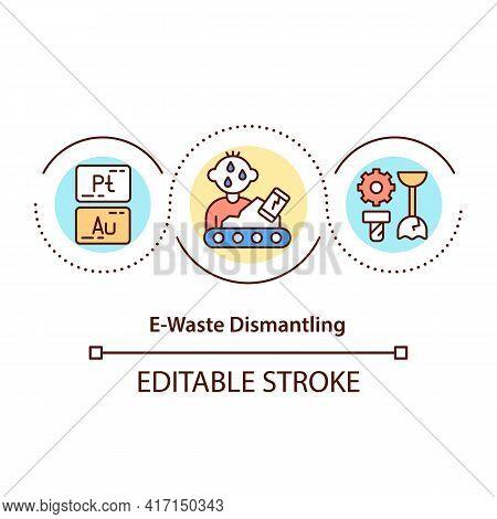 E-waste Dismantling Concept Icon. Zero Environmental Impact Idea Thin Line Illustration. Dismantling