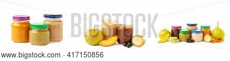 Glass Jars With Nutrient Baby Food And Fruit Isolated On White Background. Vegetable And Fruit Puree