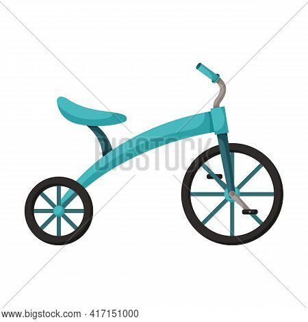 Child Bicycle Isolated Cartoon Icon. Vector Illustration Children Bike On White Background. Vector C