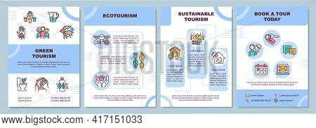 Green Tourism Brochure Template. Ecotourism Trips. Flyer, Booklet, Leaflet Print, Cover Design With