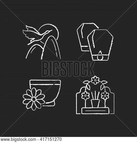 China National Holidays Chalk White Icons Set On Black Background. Crane. Lantern Festival. Chrysant