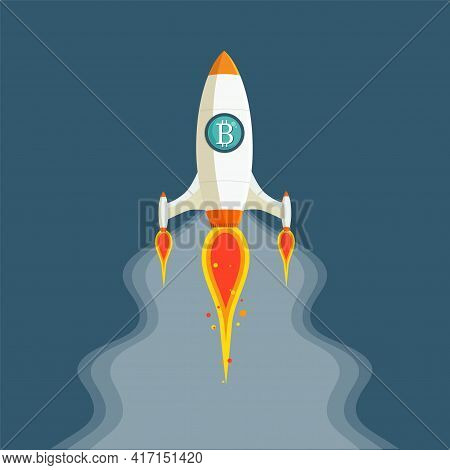The Concept Of Bitcoin Cryptocurrency. Rockets Fly With The Bitcoin Icon. Crypto Market Goes Up On B