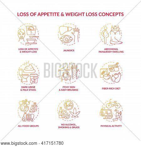 Liver Health Concept Icons Set. Symptoms, Treatment Idea Thin Line Rgb Color Illustrations. Itchy Sk