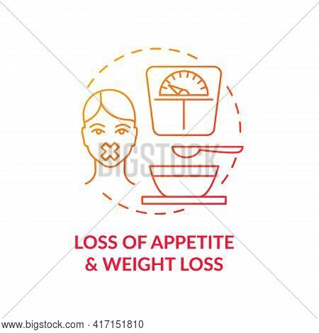 Appetite And Weight Loss Concept Icon. Liver Disease Symptom Idea Thin Line Illustration. Temporary
