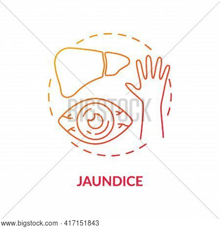Jaundice Concept Icon. Liver Disease Sign Idea Thin Line Illustration. Reddish-yellow Color. Raising