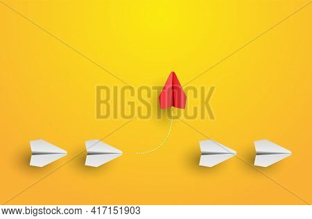 Individuality Concept. Individual And Unique Leader Red Paper Plane Flies To The Side. Think Differe