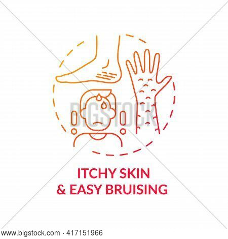 Itchy Skin And Easy Bruising Concept Icon. Liver Disease Sign Idea Thin Line Illustration. Diabetes