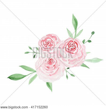 Decorative Watercolor Flowers. Compositions Floral Illustration. Botanic Composition For Wedding Or