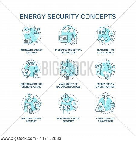 Energy Security Concept Icons Set. Access Energy Resources Idea Thin Line Rgb Color Illustrations. S