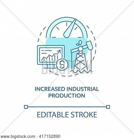 Increased Industrial Production Concept Icon. Oil Price Factor Idea Thin Line Illustration. Demands