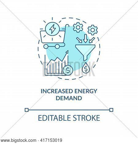 Increased Energy Demand Concept Icon. Industry Trend Idea Thin Line Illustration. Increasing Urbaniz
