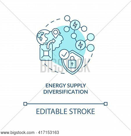 Energy Supply Diversification Concept Icon. Security Strengthening Idea Thin Line Illustration. Risk