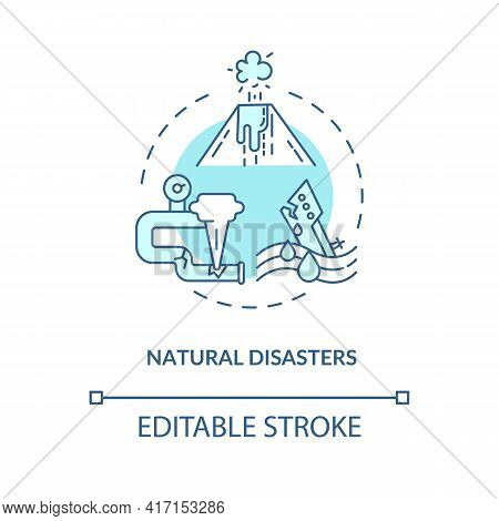 Natural Disasters Concept Icon. Energy Security Threat Idea Thin Line Illustration. Disaster Strikes
