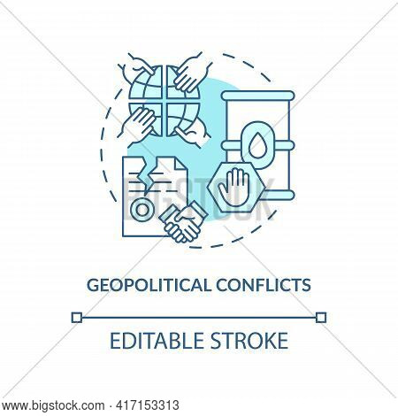 Geopolitical Conflicts Concept Icon. Energy Security Threat Idea Thin Line Illustration. Political I