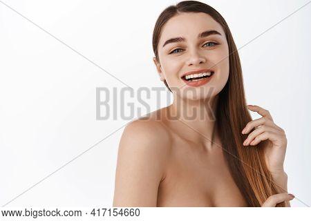 Woman Portrait Skin Care Long Beauty Brunette Hair, Hand Manicure Touching Face White Background. La