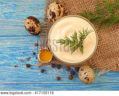 Homemade Mayonnaise, Quail Egg On Wooden Background