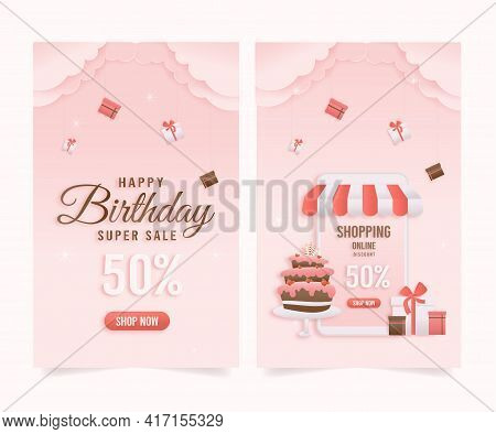 Set Banner Discount Shop Online, Birthday Sale Banners With Cake Paper Cut And Papercraft Style. Cel